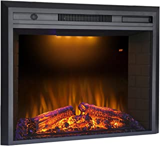 Valuxhome 36 Inches Electric Fireplace Recessed Fireplace Heater with Remote Control, Log Speaker, 1500W, Black