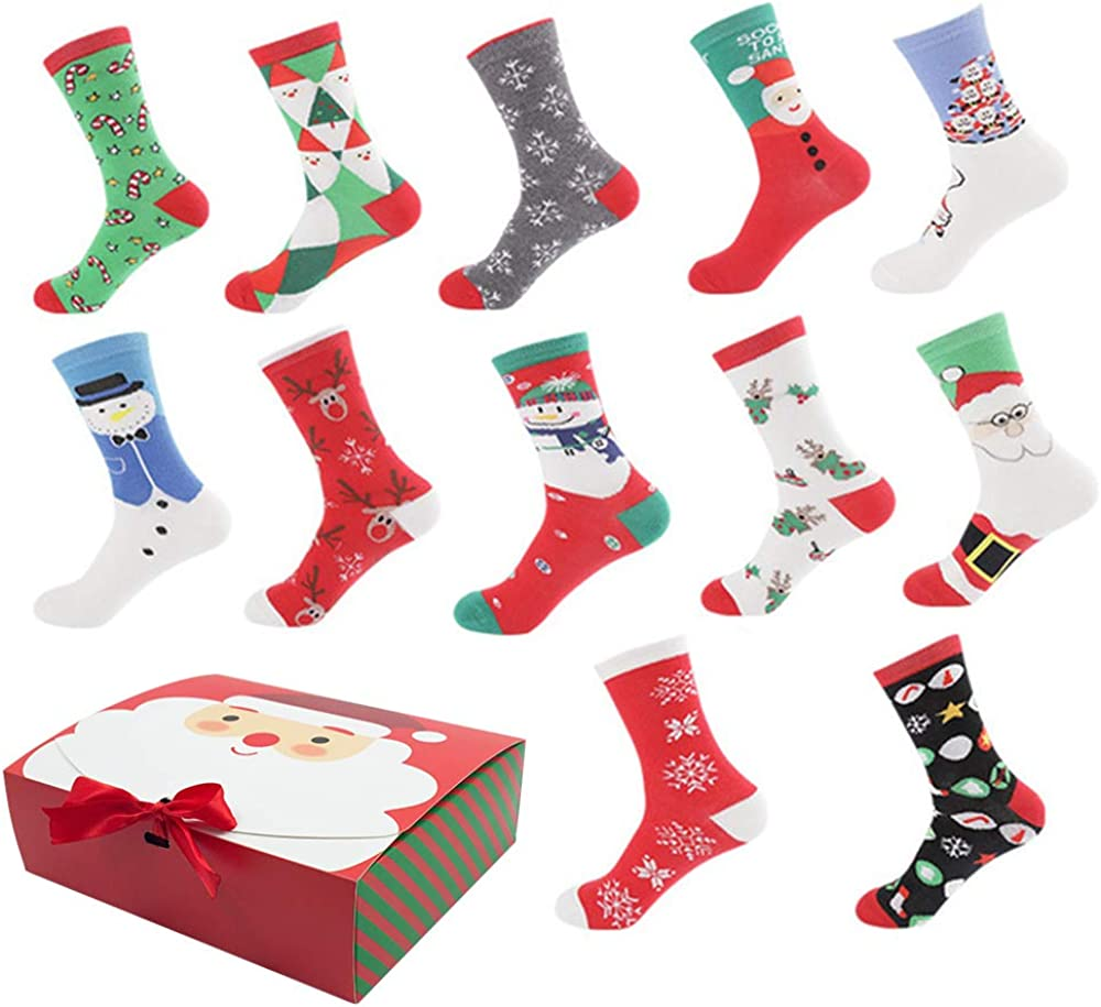 Christmas Holiday 12-Pack Gift Philadelphia Mall Socks Box with C Winter 5% OFF Warm
