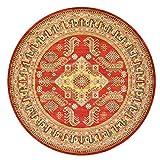 EmyTock Alfombra redonda de algodón, tejida a mano, diseño de mandala europeo, antideslizante, 120 cm de diámetro