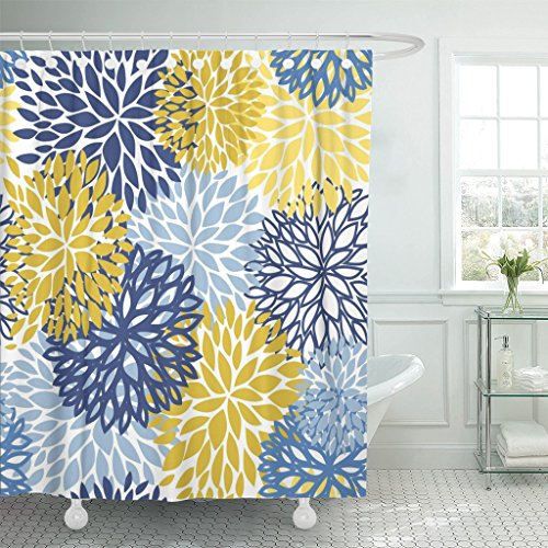 TOMPOP Shower Curtain Green Spring Flower Blue Yellow and Navy Chrysanthemum Brown Waterproof Polyester Fabric Bathroom 72 x 72 Inches Set with Hooks