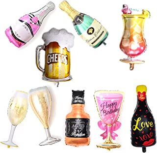 Aluminum Film Champagne Bottle and Goblet Hydrogen Balloons for Rose Gold Party Decorations