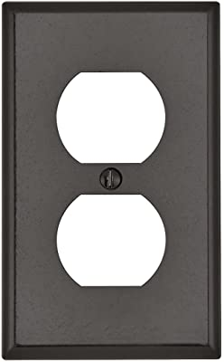Leviton 85003 001-000 1-Duplex Receptacle Standard Size Wall Plate, 1 Gang, 4-1/2 in L X 2-3/4 in W 0.22 in T, Standard, Brown