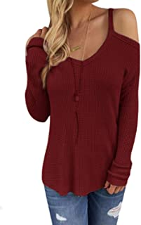 Pullover Sweaters for Women Jumpers Sexy V Neck Cold Shoulder Long Sleeves Casual Loose Fashion Knitted Tee Tops Blouse