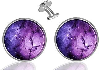 Nebula Galaxy Purple Custom Personality Men's 2PCS Fashion Dazzling Shirt Cuff links Initial Silver Round Cufflinks