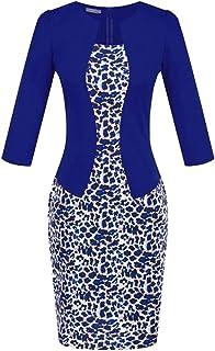 5df3f2cb8eb30f Fubotevic Womens Bodycon 3 4 Sleeve Elegant One Piece Business Wear to Work  Midi Dress