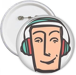 DIYthinker Casque Visage abstrait Sketch Emoticons ronde en ligne chat Pins Badge Bouton Vêtements Décoration cadeau 5pcs ...