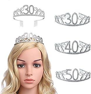 good01 30/40/50 Anni Tiara, Spumante Strass Numero Hollow Donne di Mezza età Festa di Compleanno Corona del Partito di Reg...