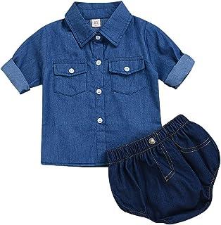 1d93d4f6ed113 Tranyee Newborn Baby Denim Pants Set Short Sleeve Button Shirt + Short  Jeans Pants Outfit Summer
