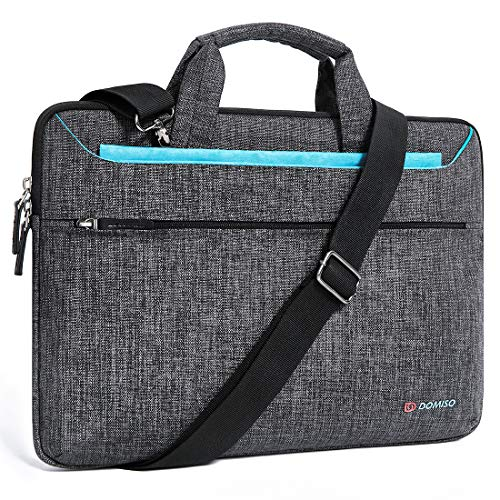 DOMISO 15.6 inch Laptop Sleeve Shoulder Bag Water-Resistant Protective Messenger Bag Business Briefcase Handbag for 15.6' Notebook/Lenovo Yoga 720 IdeaPad 310 320 ThinkPad T570/HP Envy 15, Blue