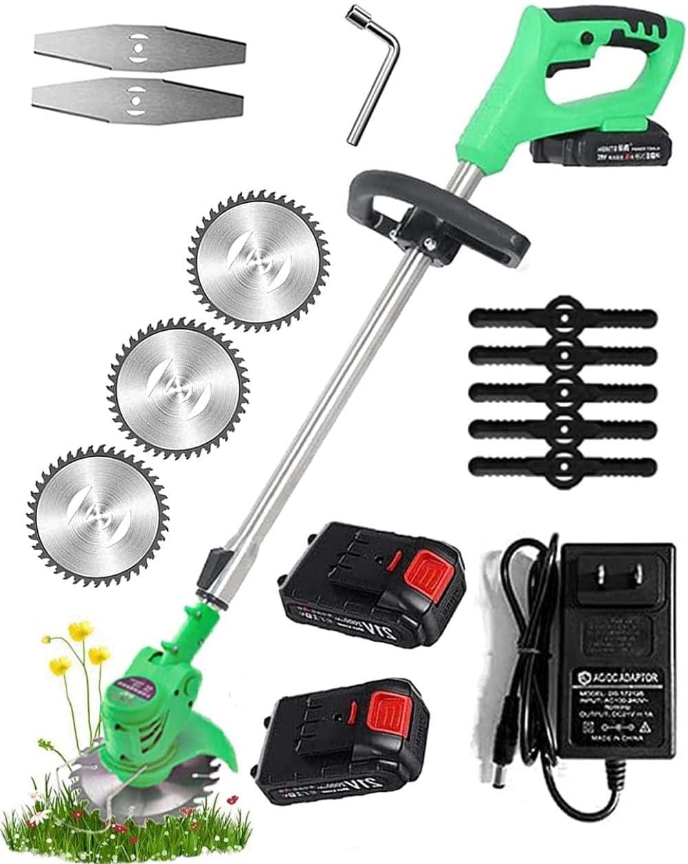 Cortadora de césped eléctrica de batería (21V 2 0AH) Cortadora de césped de batería con batería portátil cortadora de césped Ajustable 90-120 cm-Verde