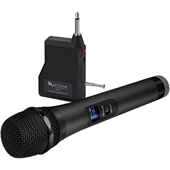 Wireless Microphone,Fifine Handheld Dynamic Microphone Wireless mic System for Karaoke Nights and House Parties to Have Fun Over The Mixer,PA System,Speakers-K025