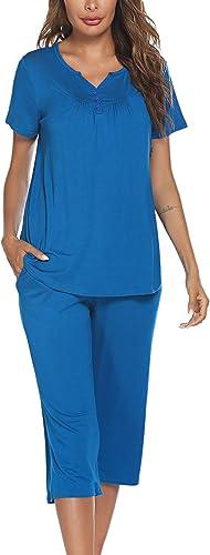 Avidlove Women's Pajama Set Short Sleeve Sleepwear Pjs Set for Women Capri Pajama Sets Nightwear Button Sleepwear Set