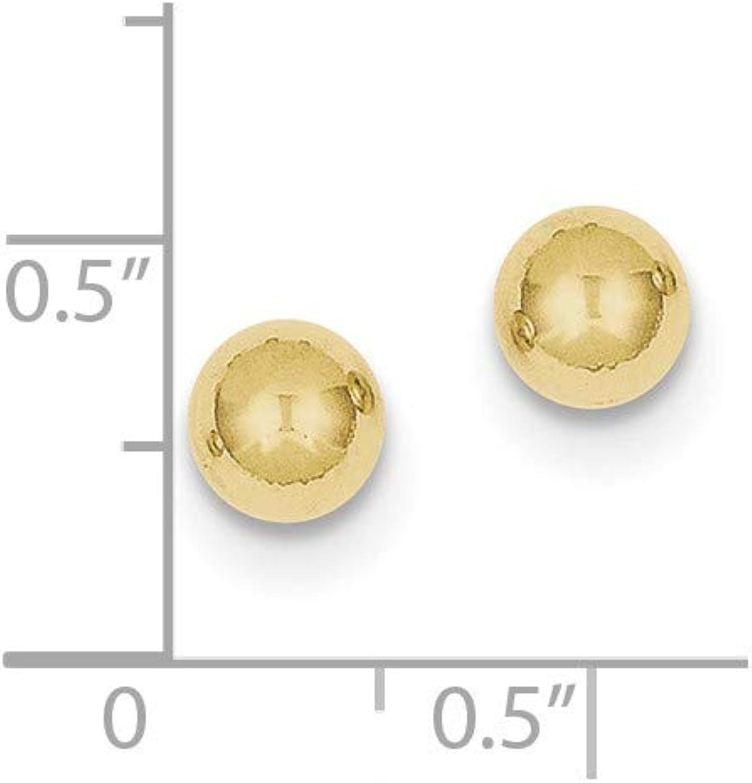 10k Polished 6mm Ball Post Earrings, 10k Yellow Gold