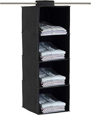 HomeStrap Premium Polyester Hanging 4 Compartments/Shelves Wardrobe Organiser (Black)