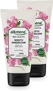 alkmene Handbalsam mit Bio Malve - Sensitiv Handcreme für empfindliche & trockene Hände - vegane Creme ohne Silikone, Parabene, Mineralöl, PEGs, SLS & SLES - Hautpflege im 2er Pack 2x 75 ml