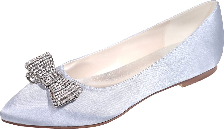 Salabobo Womens Rhinestone Comfort Bridesmaid Wedding Flats Pointed Toe Pumps 2046-19