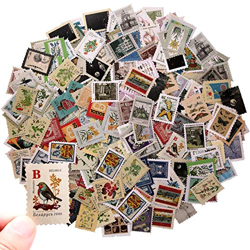 498 Pieces Postage Stamp Flake Stickers Set Vintage Post Stamp Stickers Assorted Botanical Decorative Stamps Stickers for Scrapbooking, Planners, Travel Diary, DIY Craft