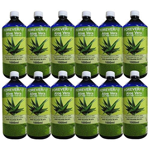 ForeverFit Aloe Vera Trinkgel 12 x 1000ml Barbadensis Miller Blattgel unverdünnt KEIN Saft KEIN Konzentrat OHNE künstliche Vitamine. Acemannan bis 1200mg/Liter. 30243