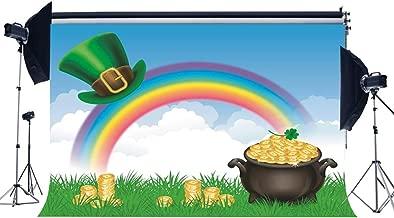 Gladbuy Happy St.Patrick's Day Backdrop 7X5FT Vinyl Lucky Irish Shamrock Backdrops Pot of Gold Leprechauns' Hat Golden Coins Rainbow Grass Meadow Photography Background for Photo Studio Props EB233