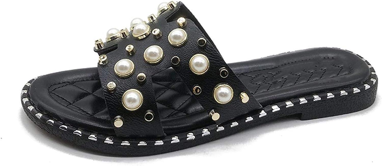 Flat Heel Sea Women H Slippers shoes Ladies Rivets Pearls Beach Slide Beadi,