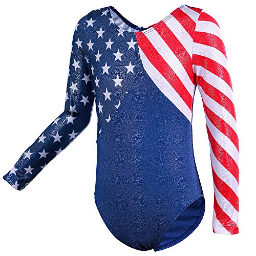 TFJH E One Piece Leotards for Girls Gymnastics Apparel Bodysuit American Flag 10A