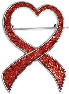 PinMart Red Glitter Heart Awareness Ribbon Valentine's Day Brooch Pin