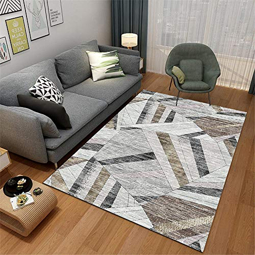 RUGMRZ Rugs For Living Room Sale grey Carpet salon striped geometric messy simple pattern soft carpet anti-slip Outside Rugs Waterproof 160X230CM Outdoor Carpets 5ft 3''X7ft 6.6''