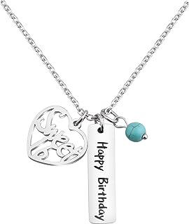 KUIYAI Happy Birthday Necklace Sweet 12th 16th 18th Birthday Gift Jewlery with Turquoise Bead