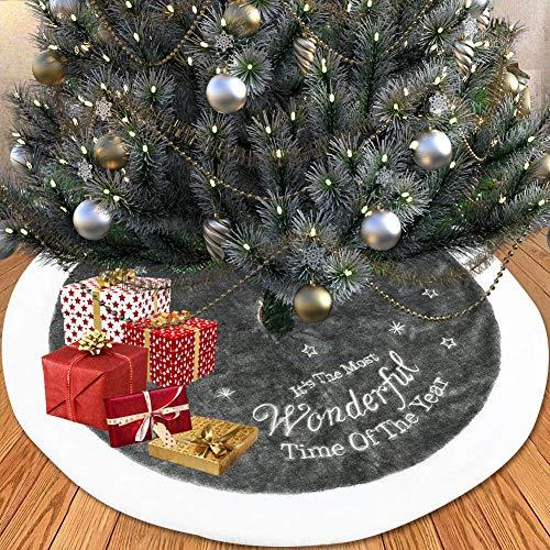 RedMaple Roter Ahorn-Weihnachtsbaum-Rock Bestickt Weihnachtsbaum-Überzug grau Rand Kunstfell Baumrock für Urlaub Zuhause Dekoration, Grau 90 cm, Einheitsgröße