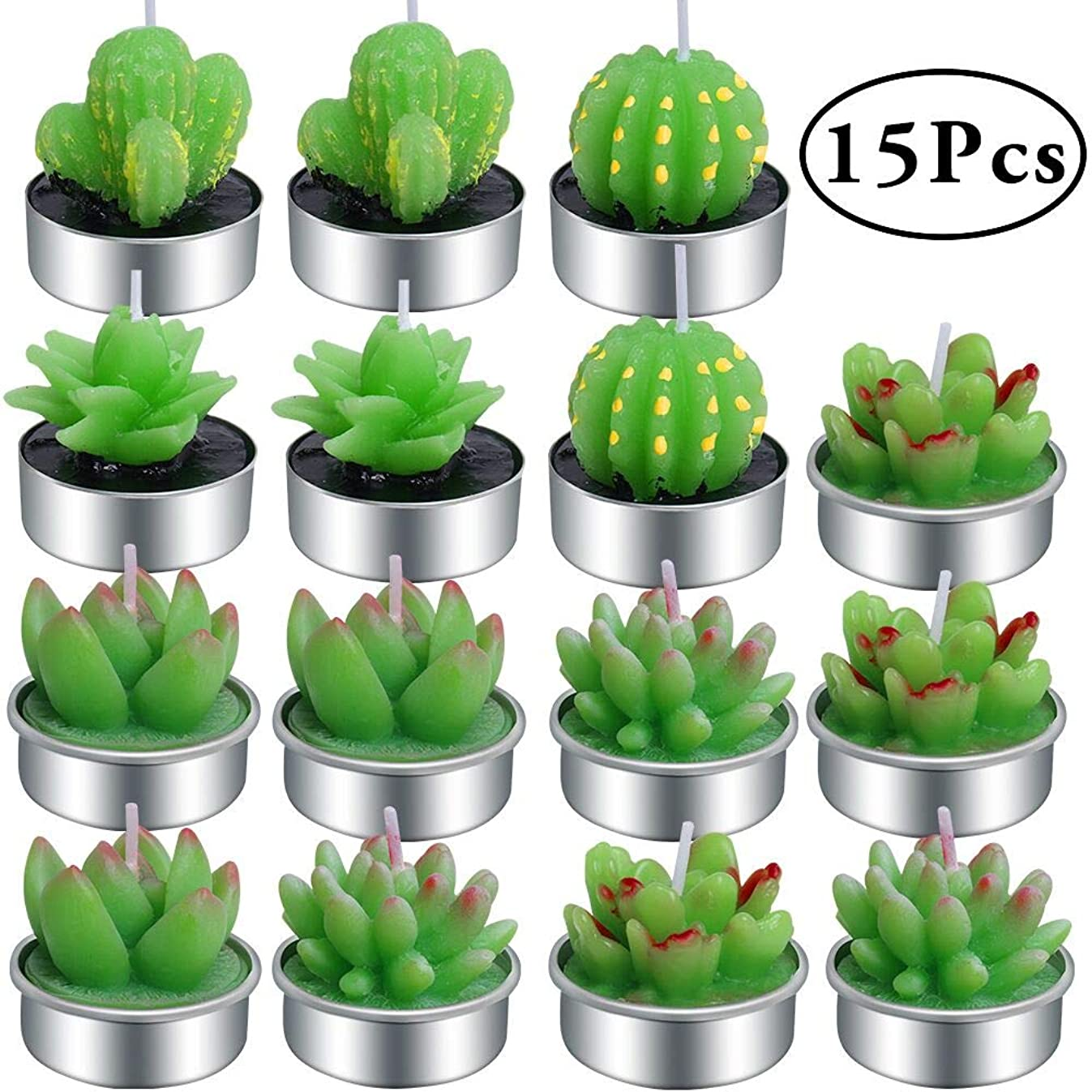 Outee 15 Pcs Cactus Tealight Candles Handmade Delicate Succulent Cactus Candles Flameless Aromatherapy 6 Designs for Birthday Party Wedding Spa Home Decoration
