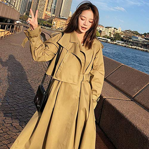 ZLYHXYR Mantel Damen Bluse Elegant Herbst Winter Trenchcoat Jacke/Lässige Trenchcoat Damen Lange Windbreaker Mantel Frauen Khaki Mit Gürtel Parka Coat