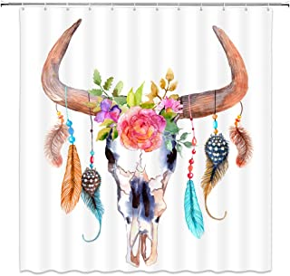 AMNYSF Feather Shower Curtain Watercolor Bull Skull with Feathers Flowers Decor White Fabric Bathroom Curtains,70x70 Inch Waterproof Polyester with Hooks