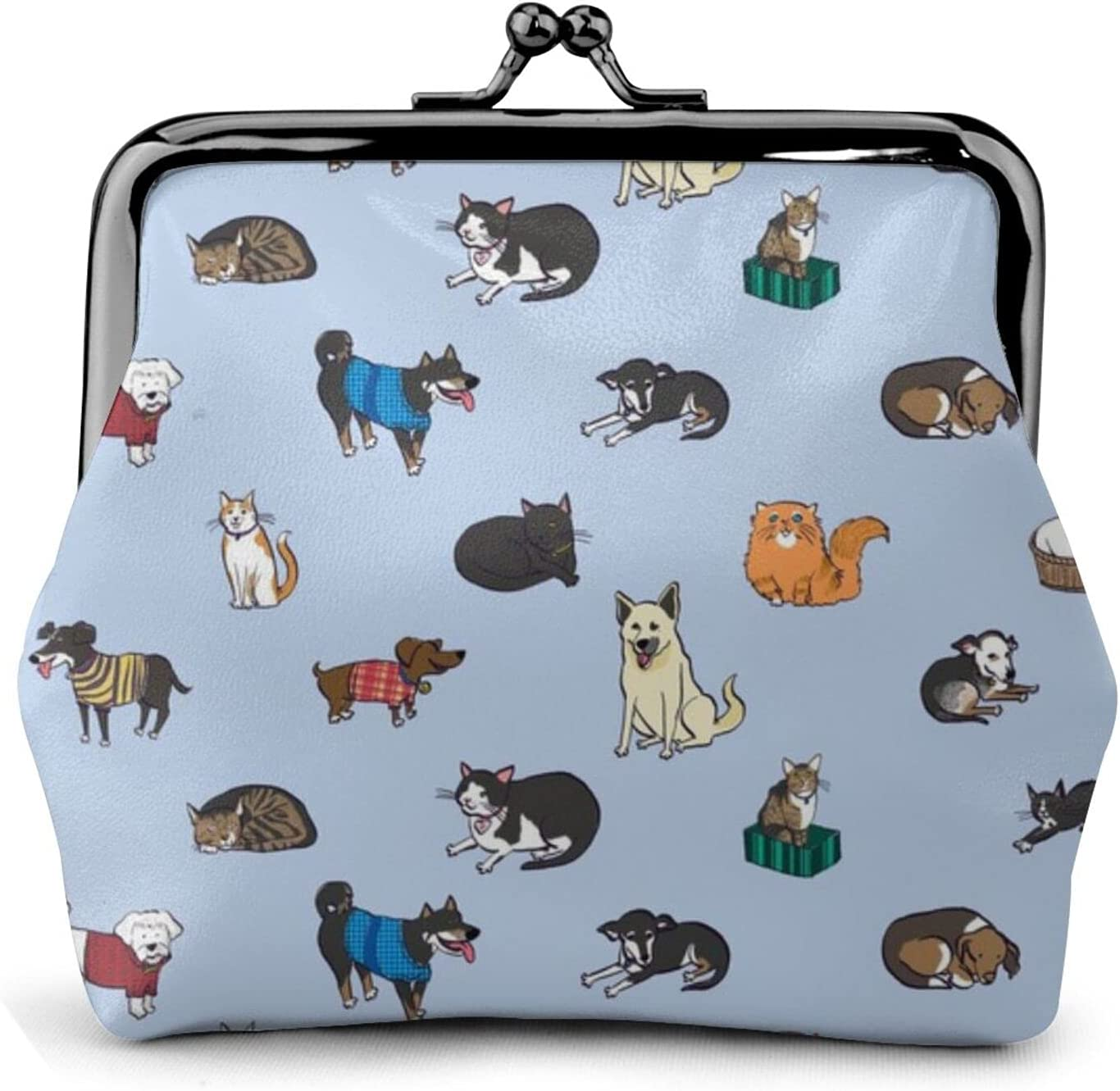 Cats And Dogs 1423 Coin Purse Retro Money Pouch with Kiss-lock Buckle Small Wallet for Women and Girls