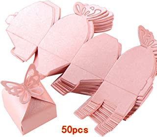 Kslong 50pcs Boutique Butterfly Candy Box Decoration Dragees Wedding Gift Favor Boxes (Pink)