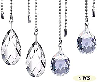 Mancru Clear Crystal Pull Chain Extension With Connector - For Ceiling Light Fan Chain (Length:12 Inch)