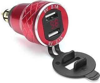 Alamor 12V-24V 4.2A Voltímetro Rojo Motocicleta Dual USB Cargador DIN Socket para BMW Moto - Rojo