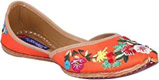 MSC Leather Ethnic Orange Flat Bellie for Women