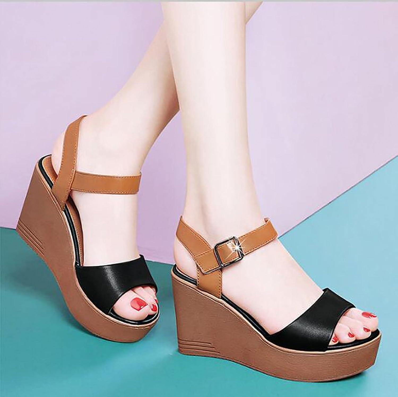 Sandals Summer Women Elegant Platform shoes Wedges Sandals Casual Non Slip Flats shoes Flat Sandals,Fashion Sandals (color   A, Size   37)