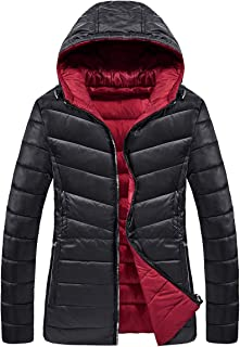 SCHONTAN Womens Reversible Quilted Puffer Down Jacket Water-Resistant Hooded Winter Outerwear(Petite Size)