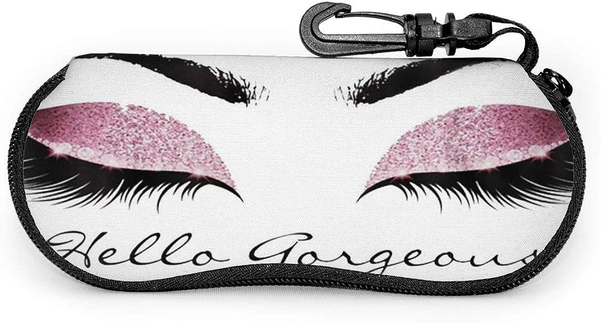 Hello Gorgeous Eyelash Sunglasses Soft Case Ultra Light Neoprene Zipper Eyeglass Case With Key Chain
