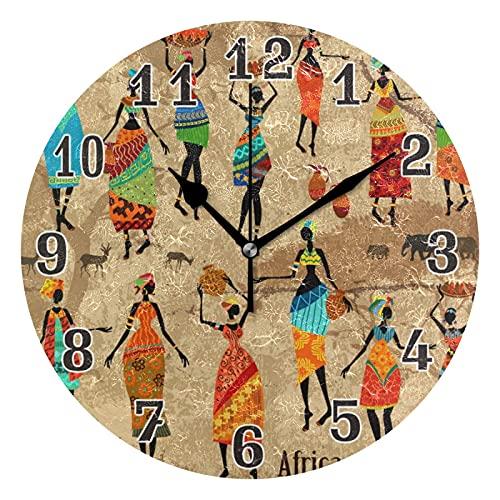 MMBY África mujeres africanas tribales sala de estar dormitorio fácil de leer reloj decoración creativa doble propósito reloj arte silencioso no escala ronda reloj de pared