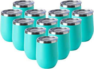 HASLE OUTFITTERS 12oz Wine Tumbler with Lid Stemless Wine Glasses Double Wall Vacuum Travel Mugs Stainless Steel Coffee Cup for Cold & Hot Drinks Wine Coffee Cocktails Beer 12 Pack Light Blue