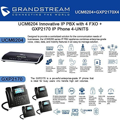 Grandstream UCM6204 IP PBX with 4 FXO + GXP2170 4-UNITS IP Phone