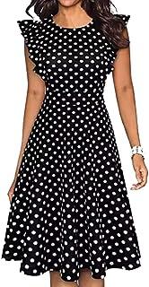 JNINTH Women's Vintage Ruffle Dress Black Dot Print Skirt A Line Swing Casual Party Long Dresses