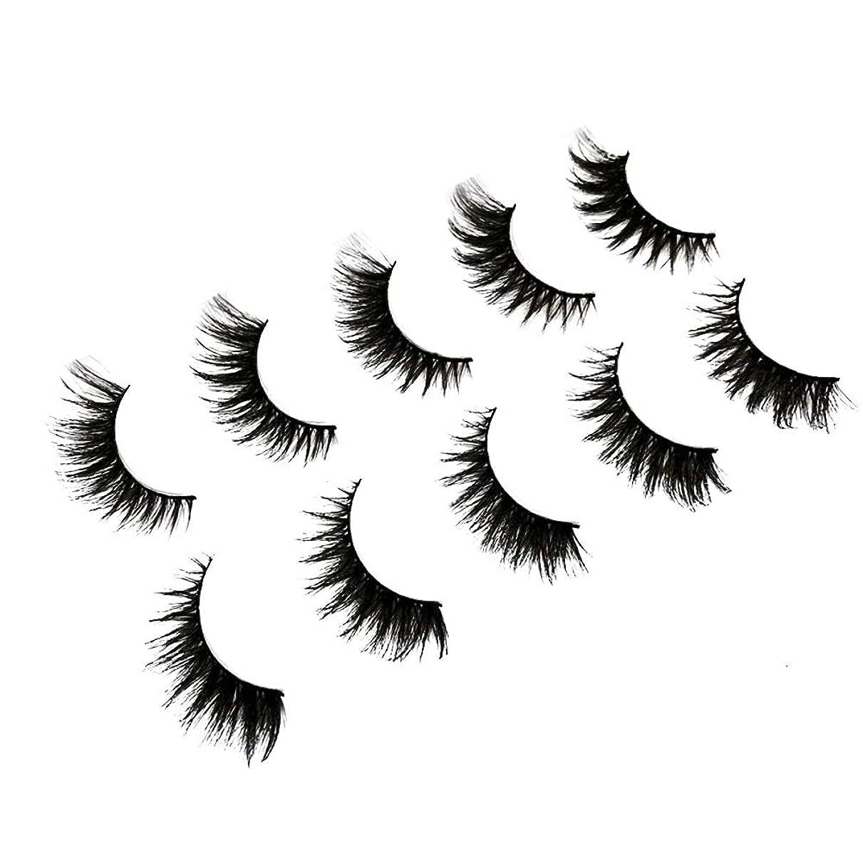 おとこ論理退化する5ペアレディース3Dクロスイミテーションミンクの毛皮まつげ手作り稠密長い再利用可能なまつげ女性のためのナチュラルルックメイク(3D29)