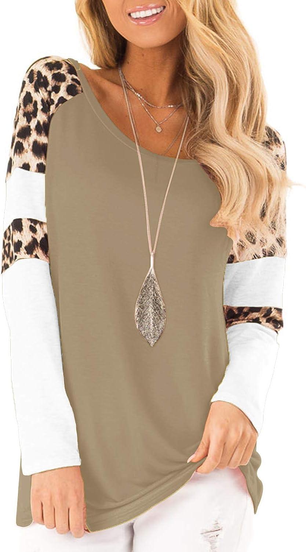 Topstype Womens Leopard Print Tops Color Block Long Sleeve Crew Neck Sweatshirts Casual Blouses Cheetah Print Shirts