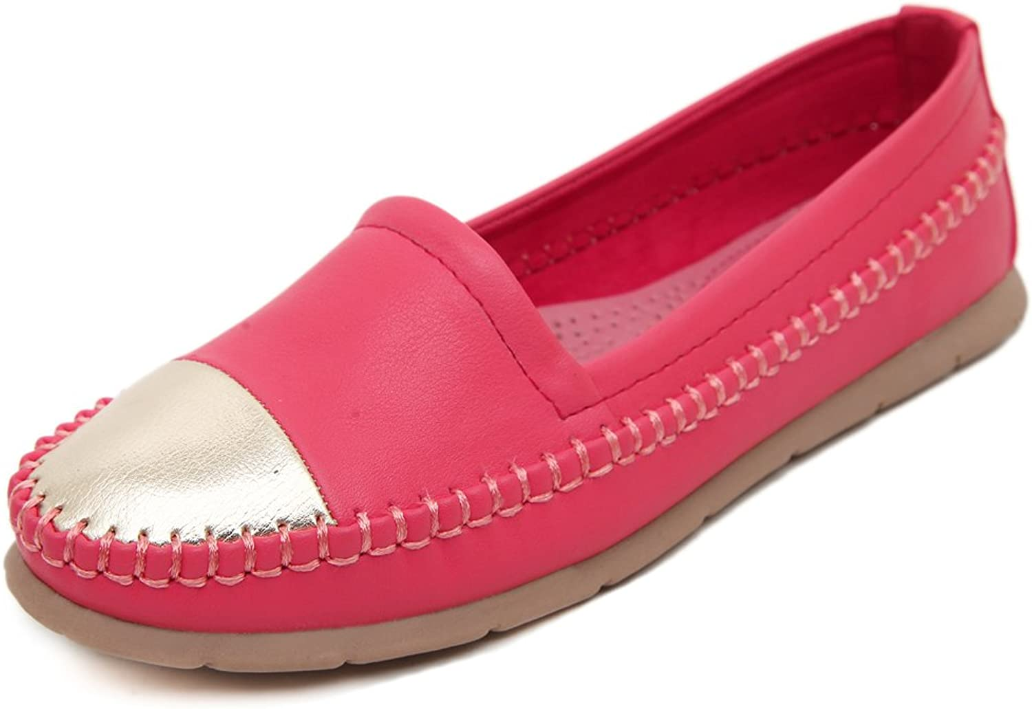 Adelina Women's Classical Two-toned Boat Loafer shoes Driving Moccasin Red 40 EU   8.5-9 US