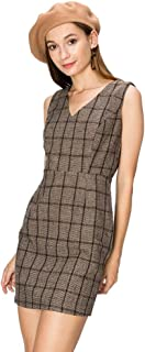HYFVE Brown Plaid Dress