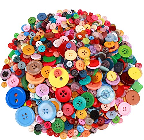 Greentime 1500 pcs Round Resin Buttons Mixed Color Assorted Sizes for Crafts Sewing DIY Manual Button Painting DIY Handmade Ornament Buttons, 2 Holes and 4 Holes