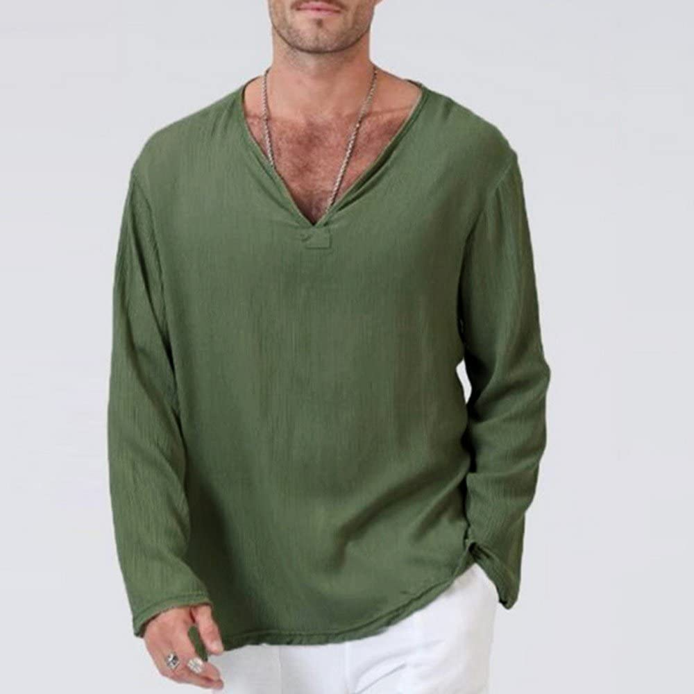 UBST Long Sleeve V Neck T-shirts for Mens, Solid Thai Hippie Shirt Plus Size Cotton Wrinkle Casual Comfy Beach Tee Tops